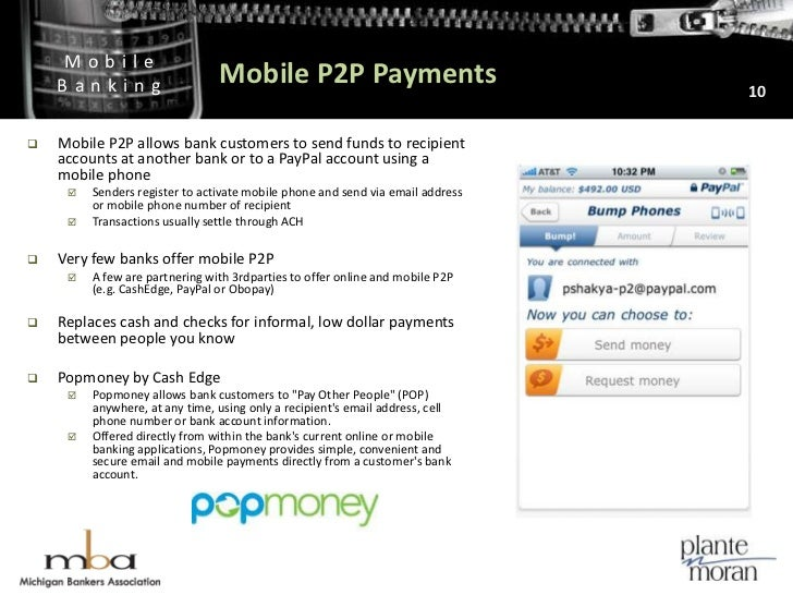 Mobile P2P Payments<br />10<br />Mobile P2P allows bank customers to send funds to recipient accounts at another bank or t...