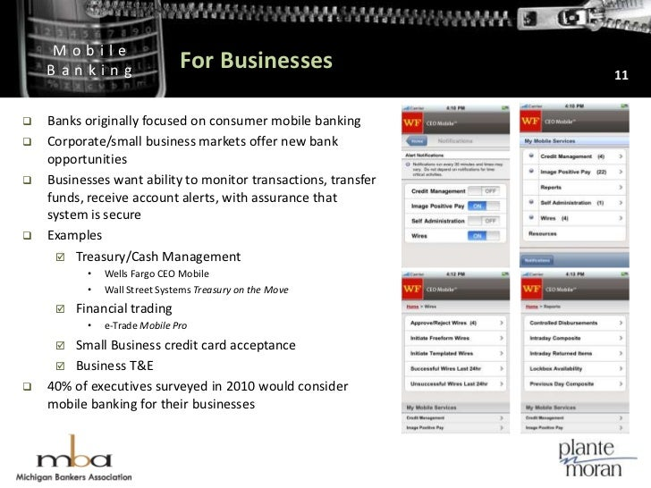 For Businesses<br />11<br />Banks originally focused on consumer mobile banking <br />Corporate/small business markets off...