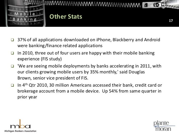 Other Stats<br />37% of all applications downloaded on iPhone, Blackberry and Android were banking/finance related applica...