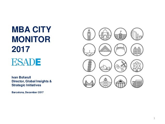 1 MBA CITY MONITOR 2017 Ivan Bofarull Director, Global Insights & Strategic Initiatives Barcelona, December 2017
