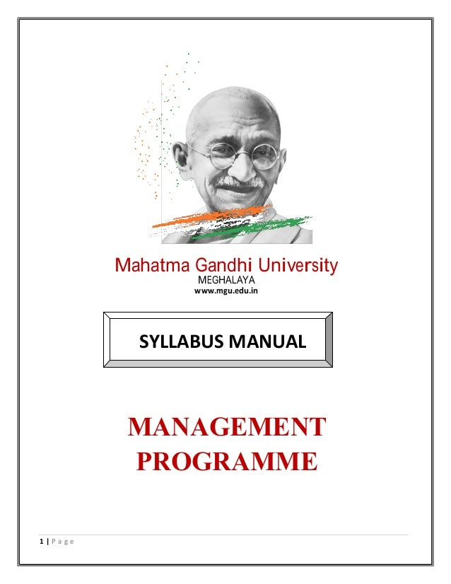 Mahatma Gandhi University MEGHALAYA www.mgu.edu.in SYLLABUS MANUAL MANAGEMENT PROGRAMME 1 | P a g e