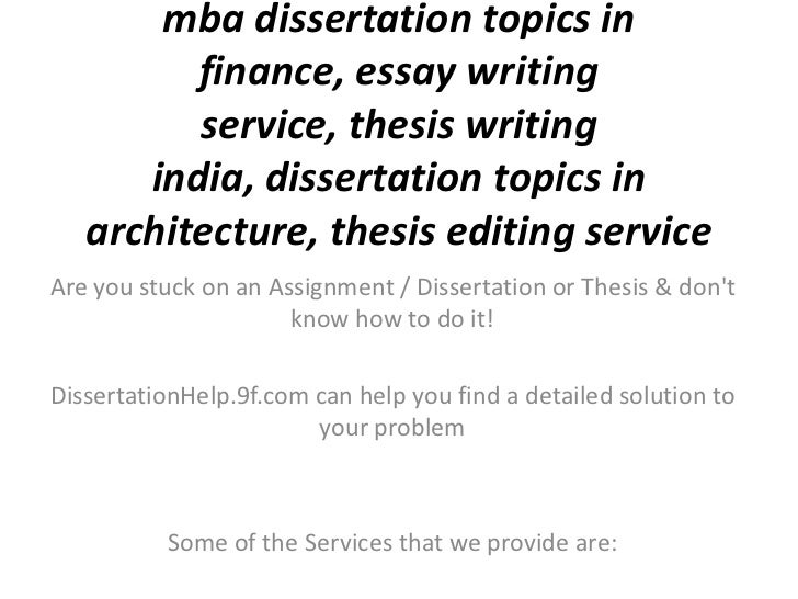 Dissertation on finance mba