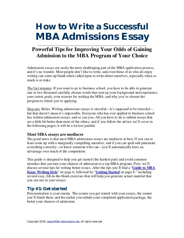 Mba program admission essay