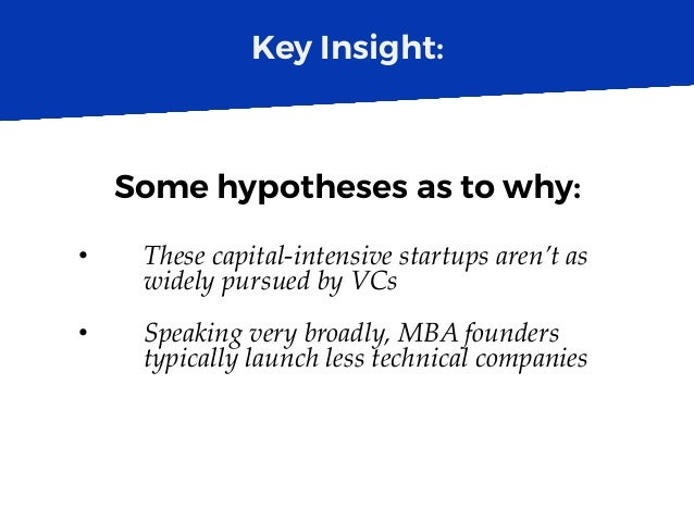 Key Insight: Some hypotheses as to why: • These capital-intensive startups aren't as widely pursued by VCs • Speaking ve...