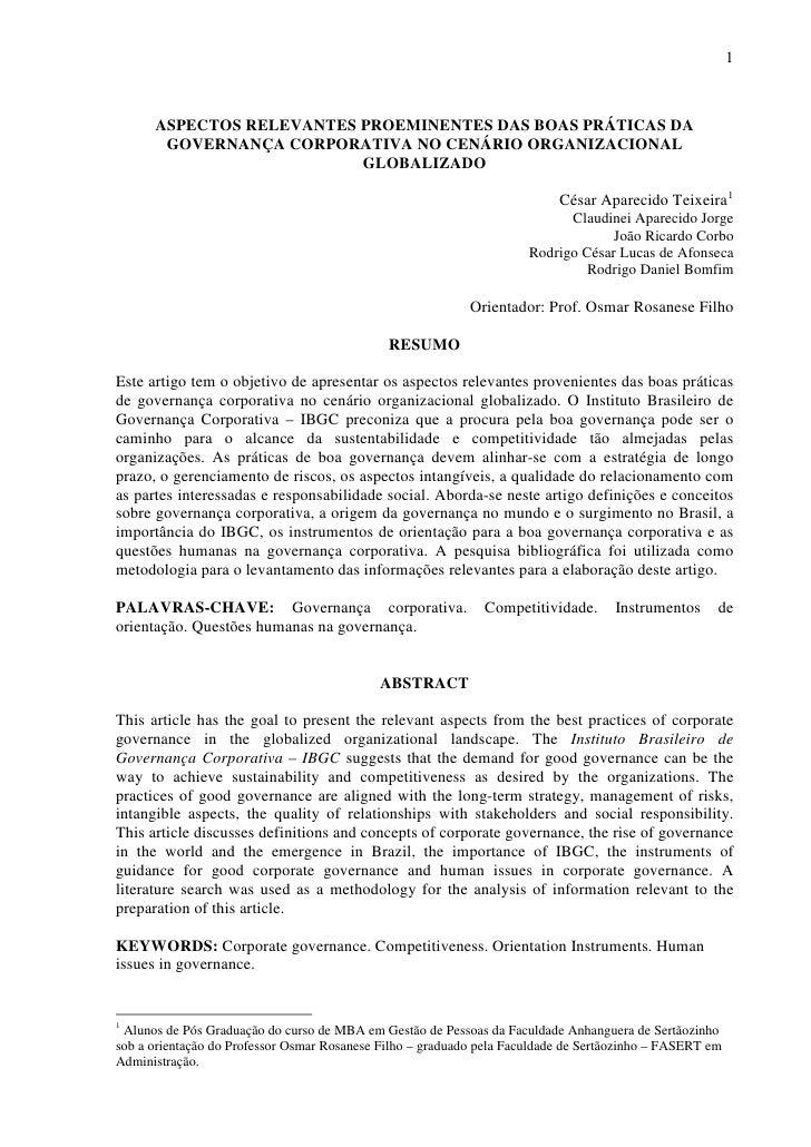 1          ASPECTOS RELEVANTES PROEMINENTES DAS BOAS PRÁTICAS DA        GOVERNANÇA CORPORATIVA NO CENÁRIO ORGANIZACIONAL  ...