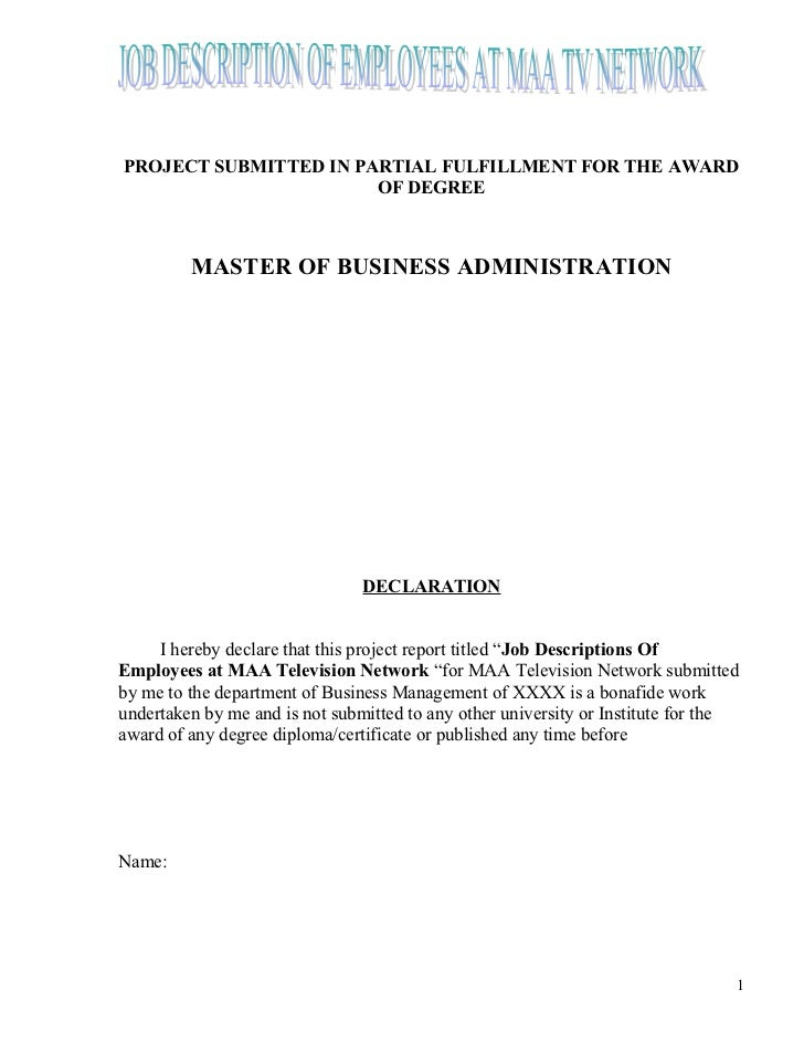 PROJECT SUBMITTED IN PARTIAL FULFILLMENT FOR THE AWARD                       OF DEGREE         MASTER OF BUSINESS ADMINIST...