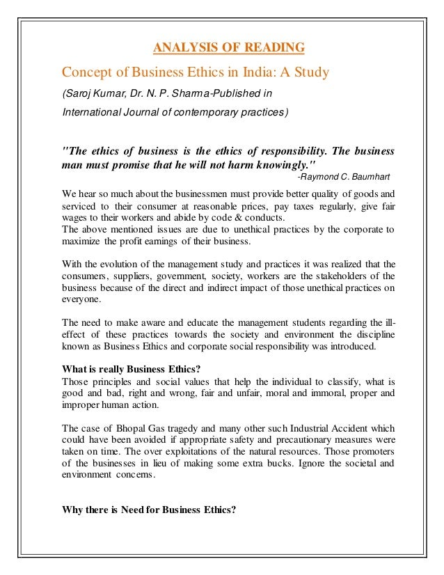Concept of Business Ethics in India: A Study Slide 2