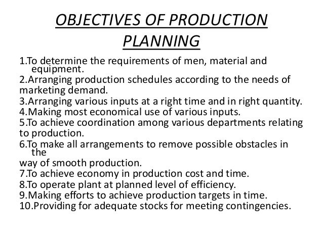 Objective of Production Management