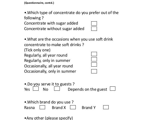questionnaire on soft drinks The study of consumer's attitudes and behaviors towards carbonate and behaviors towards carbonate soft drinks this study is a questionnaire.