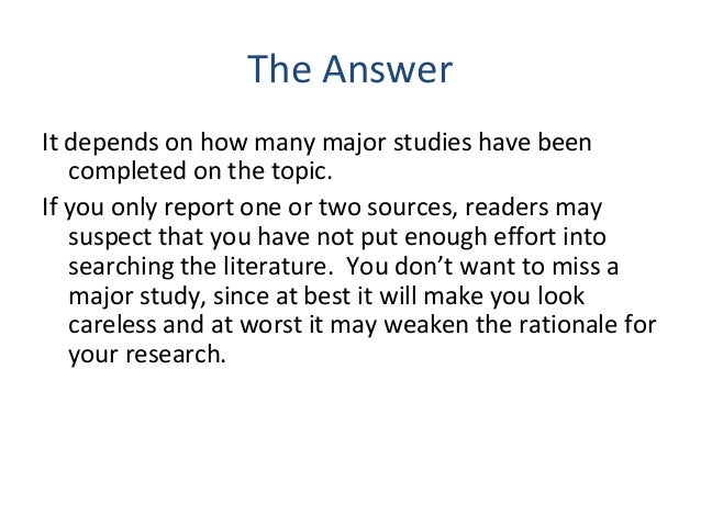 how many sources should a literature review include