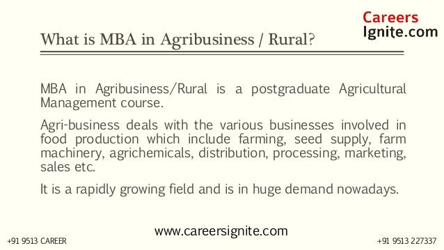 MBA in AgriBusiness / Rural Courses, Colleges, Eligibility Slide 2