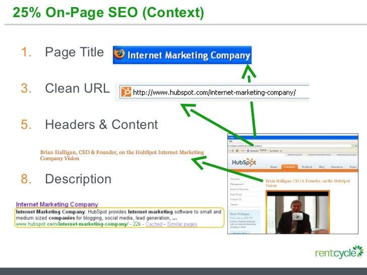 25% On-Page SEO (Context) <ul><li>Page Title </li></ul><ul><li>Clean URL </li></ul><ul><li>Headers & Content </li></ul><ul...