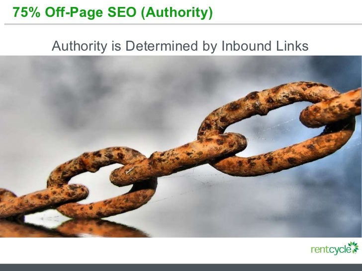 75% Off-Page SEO (Authority) Authority is Determined by Inbound Links