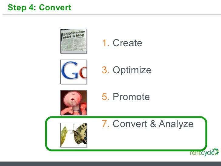 Step 4: Convert <ul><li>Create </li></ul><ul><li>Optimize </li></ul><ul><li>Promote </li></ul><ul><li>Convert & Analyze </...