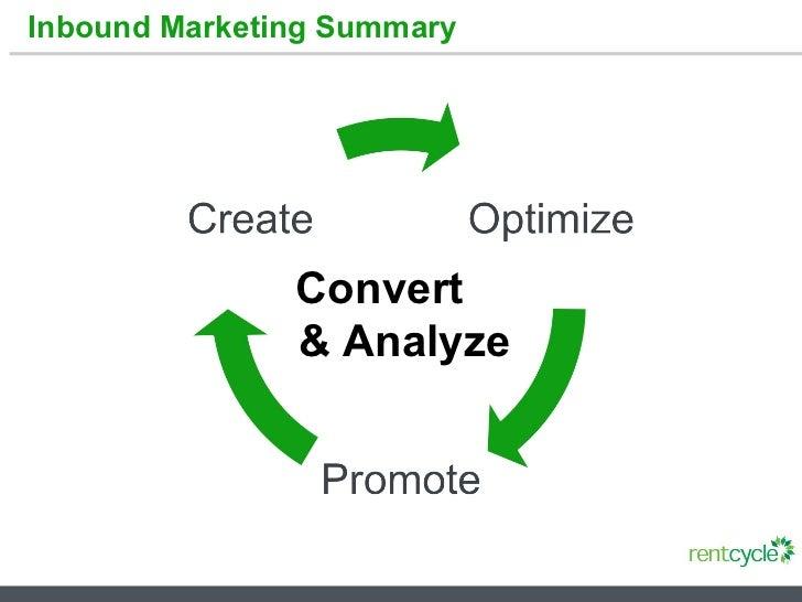 Inbound Marketing Summary Convert  & Analyze