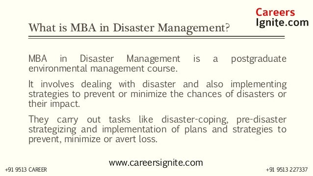 MBA in Disaster Management Courses, Colleges, Eligibility Slide 2