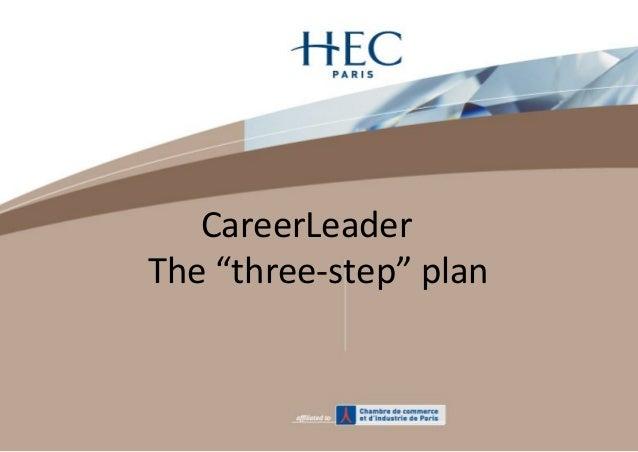 """CareerLeader The """"three-step"""" plan"""
