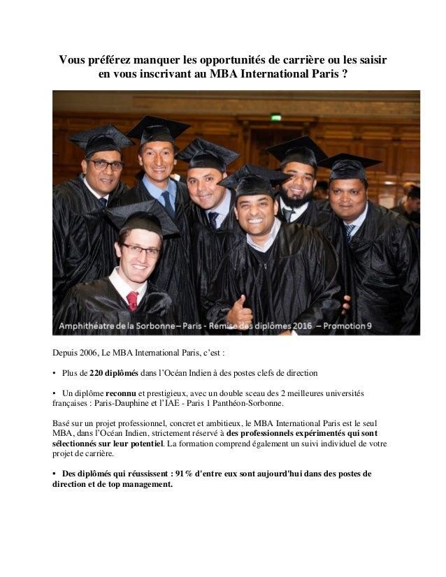 34e9191d1e64c0 Vous préférez manquer les opportunités de carrière ou les saisir en vous  inscrivant au MBA International ...