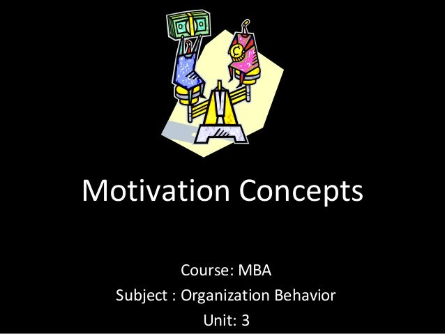 Motivation Concepts Course: MBA Subject : Organization Behavior Unit: 3