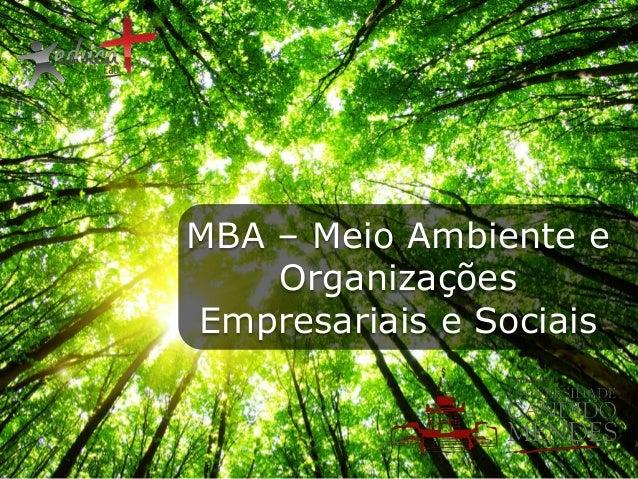 MBA – Meio Ambiente e Organizações Empresariais e Sociais