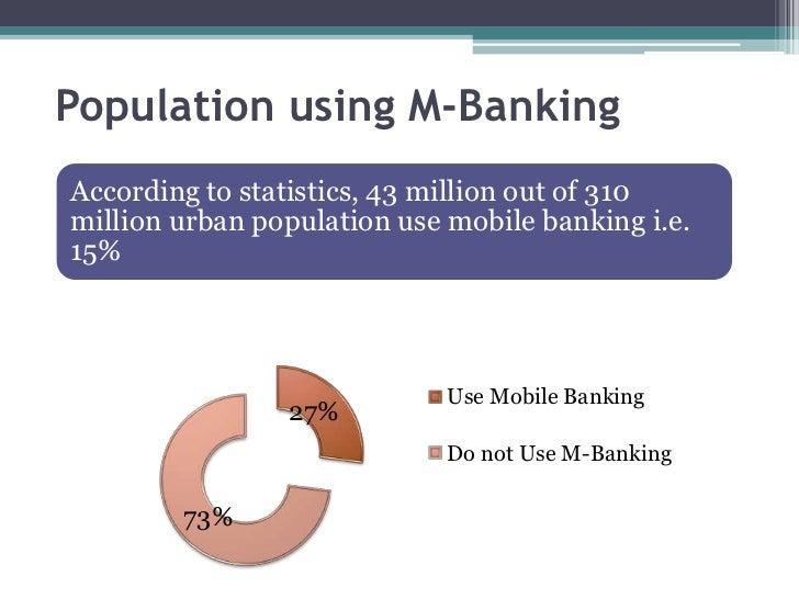 Population using M-BankingAccording to statistics, 43 million out of 310million urban population use mobile banking i.e.15...