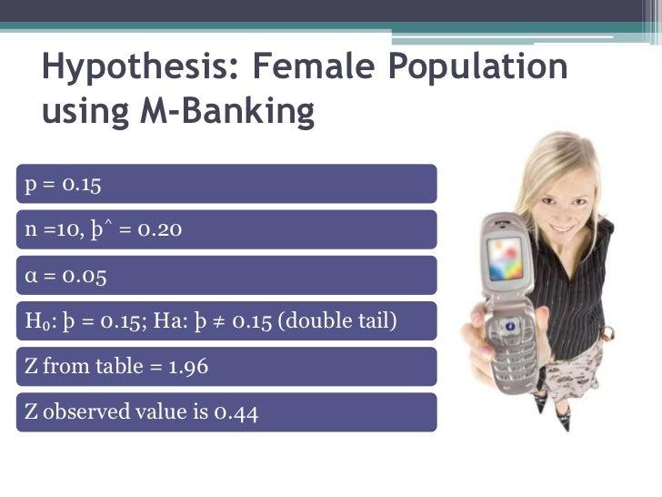 Hypothesis: Female Population using M-Bankingp = 0.15n =10, þ^ = 0.20α = 0.05H₀: þ = 0.15; Ha: þ ≠ 0.15 (double tail)Z fro...