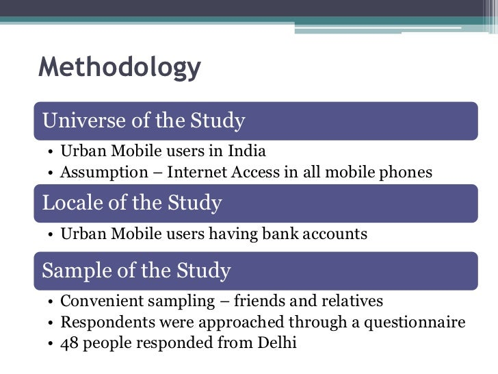 MethodologyUniverse of the Study• Urban Mobile users in India• Assumption – Internet Access in all mobile phonesLocale of ...