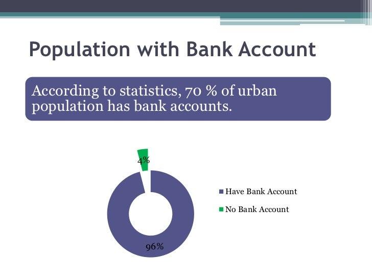 Population with Bank AccountAccording to statistics, 70 % of urbanpopulation has bank accounts.                4%         ...