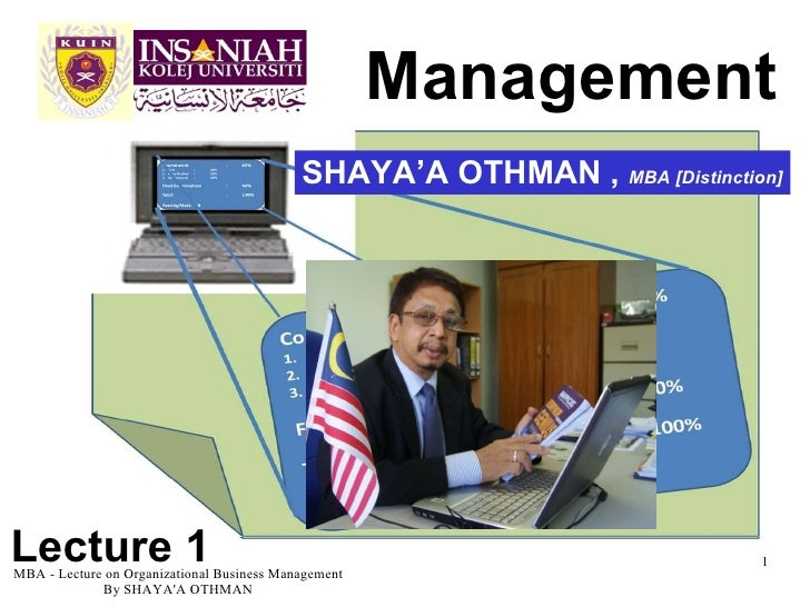 Management  MBA - Lecture on Organizational Business Management By SHAYA'A OTHMAN SHAYA'A OTHMAN ,  MBA [Distinction] Lect...