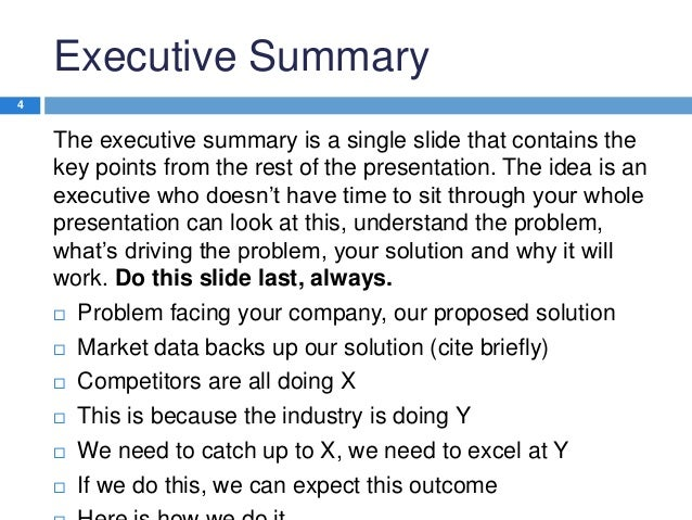 How to write an executive summary for a technical report – One Page Executive Summary Template