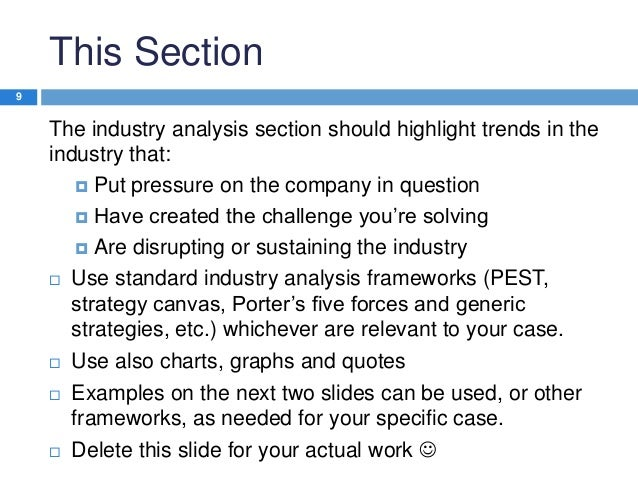 This Section 9  The industry analysis section should highlight trends in the industry that:  Put pressure on the company ...