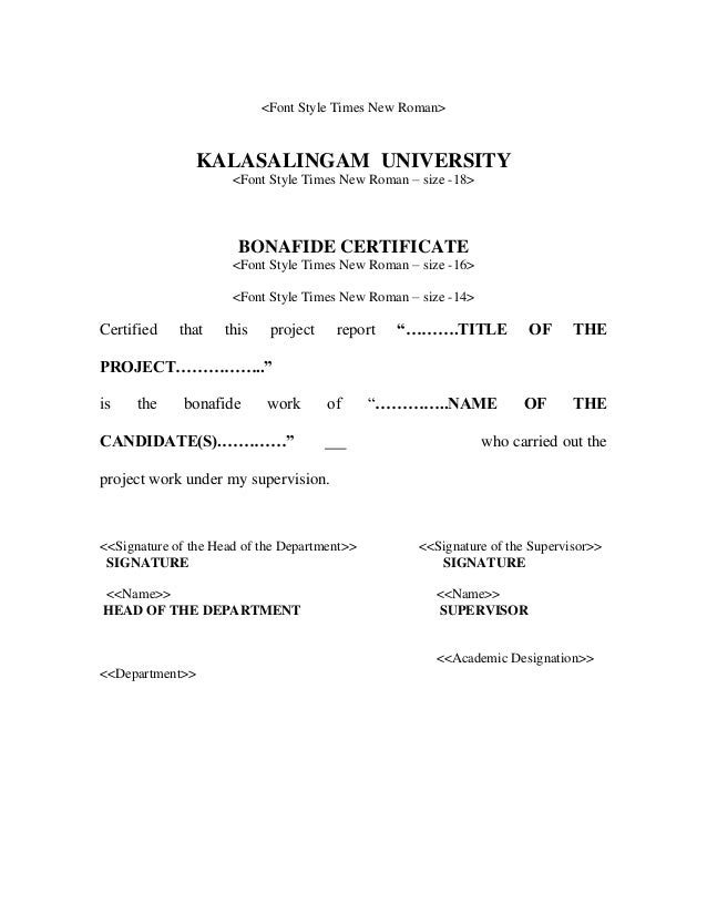 Mba project format bonafide certificate 10 yelopaper Images