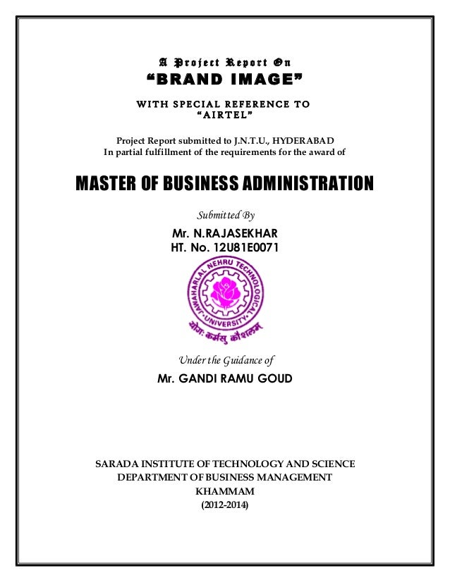 Mba project title pages karunaker for Covering letter for project report