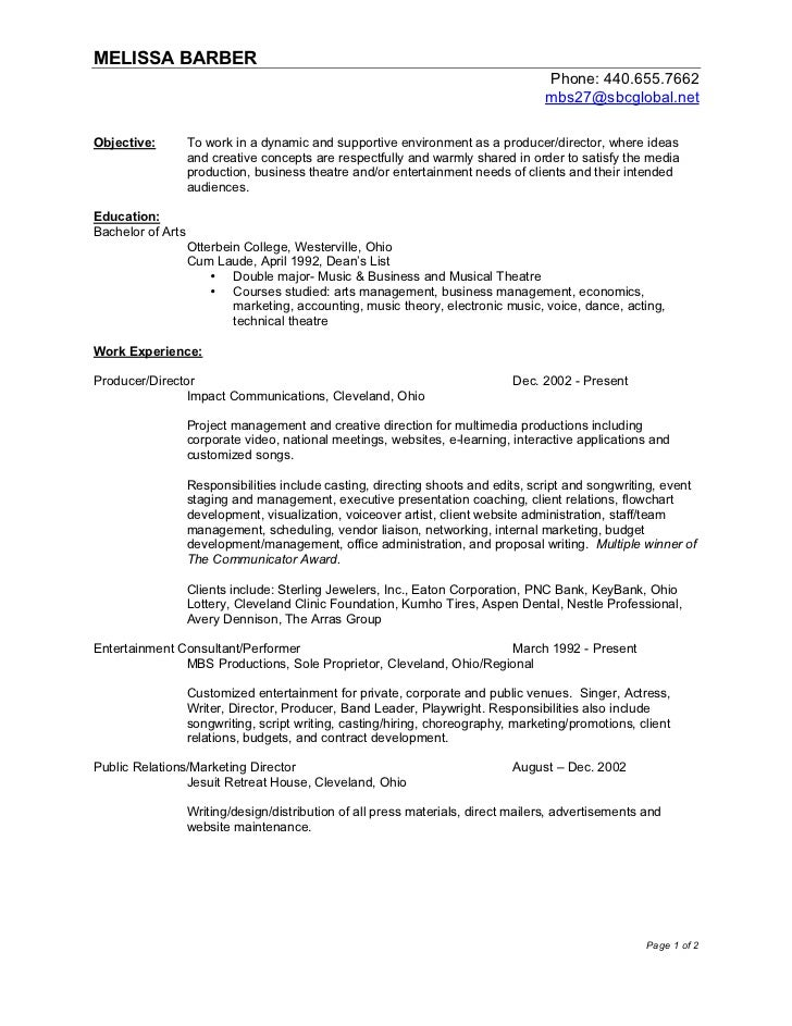 M Barber Business Resume 2012. MELISSA BARBER ...  Music Business Resume