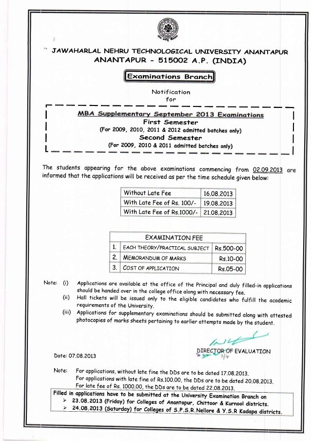 Mba regular and supplementary september 2013 examinations notificatio…