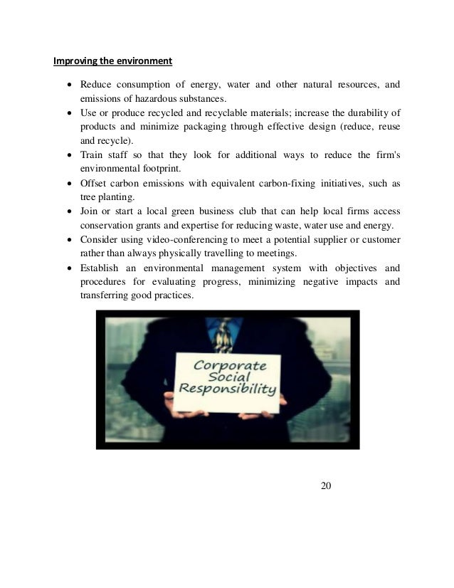 mba project on corporate social responsibility pdf