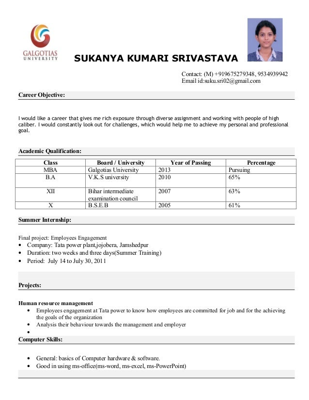 Great Mba, Resume Format. SUKANYA KUMARI SRIVASTAVA ... For Performa Of Resume