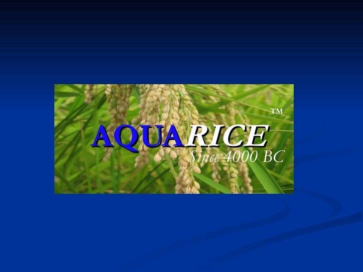 AQUA RICE TM Since 4000 BC