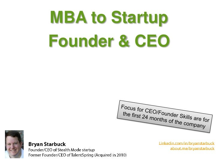 MBA to StartupFounder & CEO