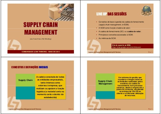 1 de 71SUPPLY CHAINSUPPLY CHAINMANAGEMENTMANAGEMENTJoão Paulo Pinto, PhD MSc(Eng)COMUNIDADE LEAN THINKING – MAIO DE 2013 2...
