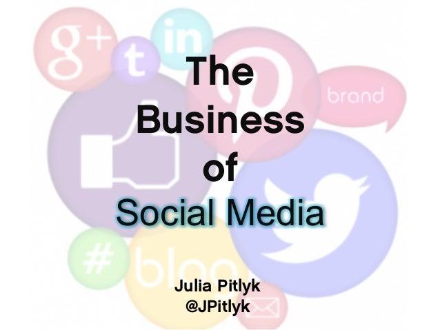 The Business of Social Media Julia Pitlyk @JPitlyk