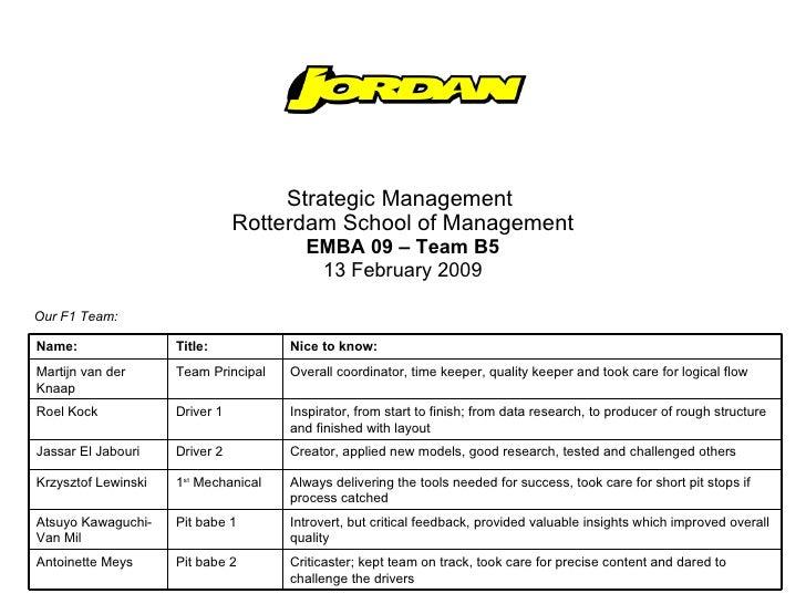 Strategic Management  Rotterdam School of Management EMBA 09 – Team B5 13 February 2009 Our F1 Team: Criticaster; kept tea...