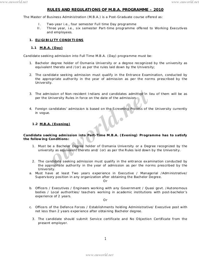 www.ouworld.net  www.ouworld.net RULES AND REGULATIONS OF M.B.A. PROGRAMME – 2010  The Master of Business Administration (...
