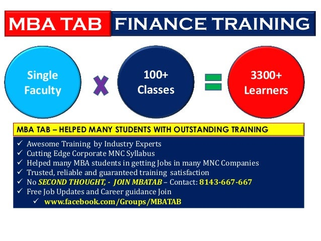 3300+ Learners 100+ Classes Single Faculty MBA TAB – HELPED MANY STUDENTS WITH OUTSTANDING TRAINING  Awesome Training by ...