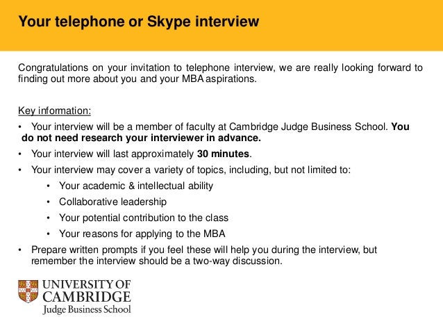 Mba Telephone Interview Candidates
