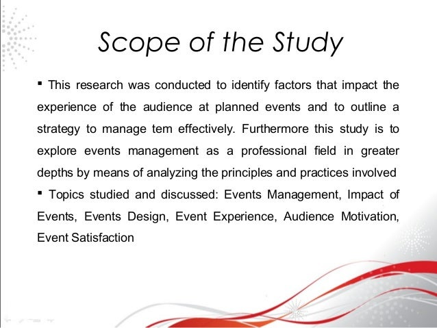 Scope of the Study - PhD Thesis Bangalore