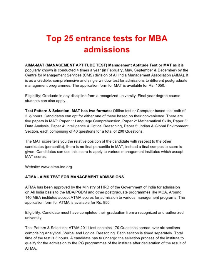 Top 25 entrance tests for MBA                     admissionsAIMA-MAT (MANAGEMENT APTITUDE TEST) Management Aptitude Test o...