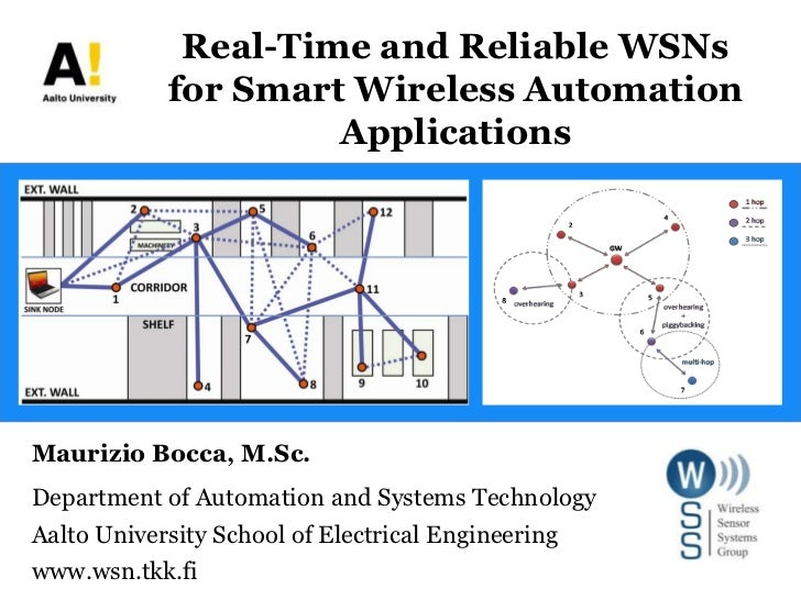Real-Time and Reliable WSNsfor Smart Wireless Automation Applications<br />Maurizio Bocca, M.Sc.<br />Department of Automa...