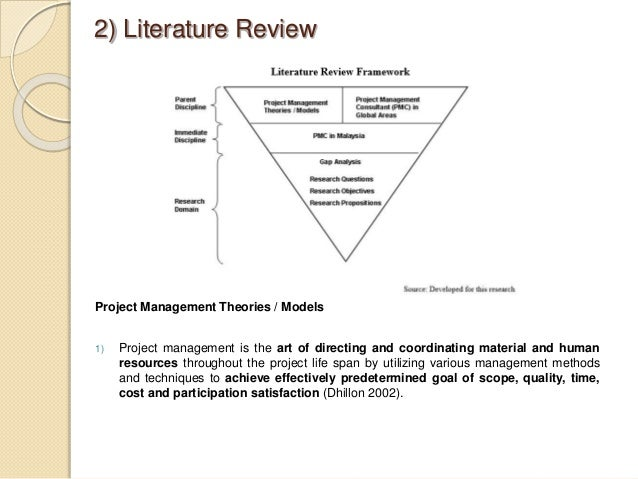 literature review on project management The planning phase and project success – a literature review 1 the literature in project management, and to a lesser extent in general management.
