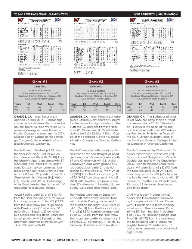 WT Men's Basketball Game Notes (3-11-17)